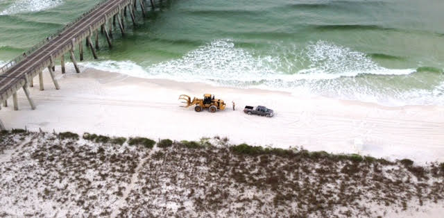 Today At 6 45 Am On Navarre Beach Heavy Equipment Entered To Begin The Renourishment Job